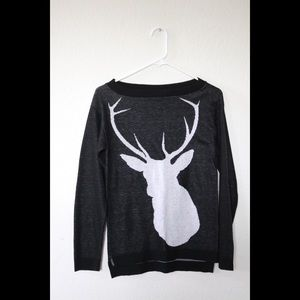 Confess Black and White Deer Sweater